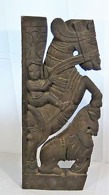 ANTIQUE 18c ASIAN,CHINESE WOOD CARVED WARRIOR ON HORSE AND FOO-LION SCULPTURE
