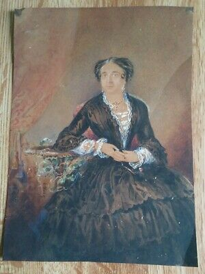 Antique Miniature Portrait Painting Lovely Lady Woman Signed 1800s Victorian