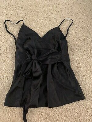 Bebe Womens Black Cami Babydoll Sleeveless Tie Front Detail Size Large