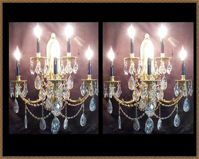 2 XLarge Vintage Heavy Brass Ornate Wall Sconces Chandelier Superb Crystals WOW!