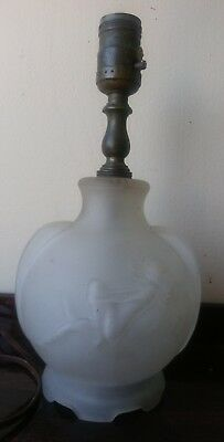 Antique Vintage Art Deco Frosted Glass Nude Girl Lamp. WORKS!