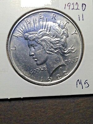 1922-D Peace Silver Dollar BU Unc MS Denver Mint Eye Appeal Luster
