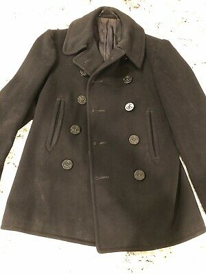 VINTAGE US NAVY AUTHENTIC WOOL PEA COAT WWII. Excellent Condition