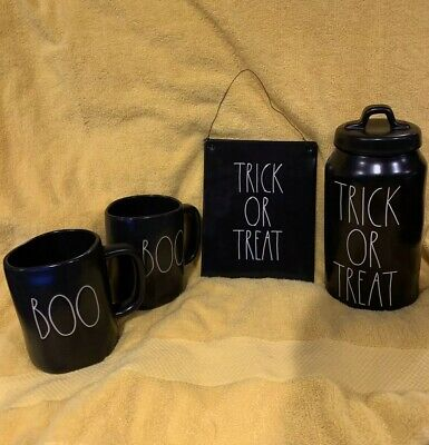 Rae Dunn Halloween Canister Bundle! Includes: Canister, 2 Mugs & Wall Plaque New