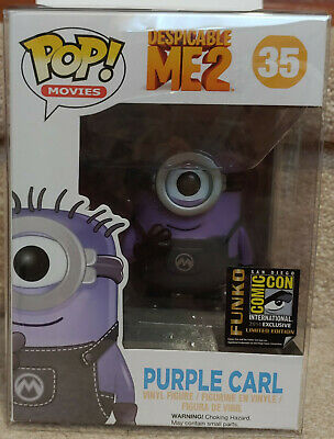 2014 SDCC Purple Carl Minion from Despicable Me 2 Funko Pop w soft pop protector