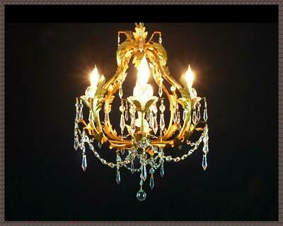 Italian Tole Chandelier Amazing Leaded Crystals Gorgeous Dark Gold Finish LQQK!