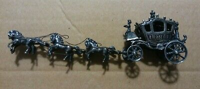 Rare Antique German 800 Sterling Silver Miniature Horse Drawn Royal Carriage