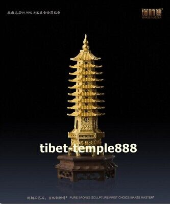 Chinese Brass Nine Layers 24K gold Wenchang Tower stupa pagoda Fengshui Statue