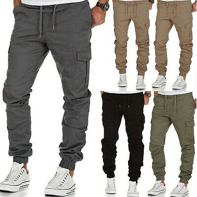Mens Casual Sports Cargo Trousers Slim Fit Bottoms Plain Straight Pocket Pants