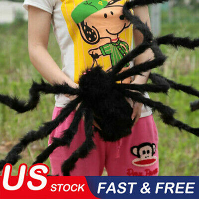5FT/150cm Hairy Giant Spider Decoration Halloween Prop Haunted House Decor Party