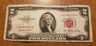 1953 Star Note $2 Bill Red Seal Note Currency United States Dollar 01004136
