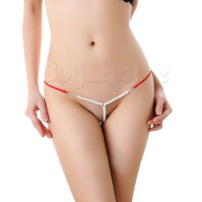 Women Pearls T-back Sling Shot G-string Underwear Bikini Y Back Thong Nightwear