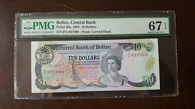 BELIZE 1987 10 DOLLARS P48a SUPERB GEM UNC PMG 67 EPQ