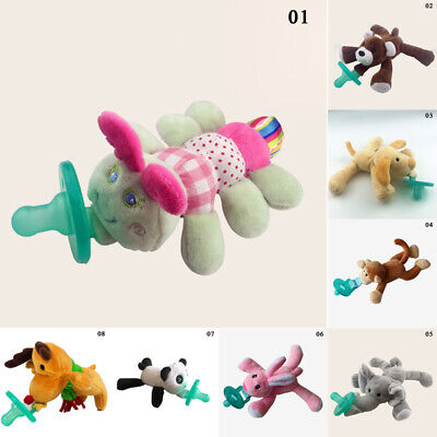 Infant Baby Newborn Silicone Soothers Pacifiers With Animal Funny Doll Plush Toy