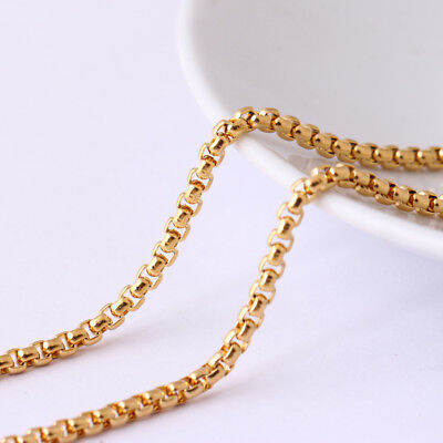 2.5mm Wholesale Yellow Gold Plated Stainless Steel Square Box Rolo Chain 20-28''