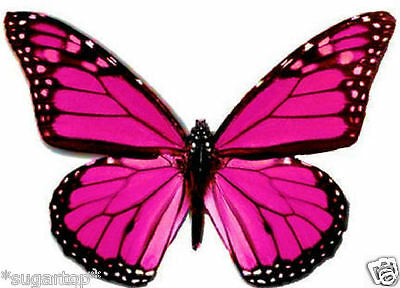 24 x Pretty HOT PINK Monarch Butterflies Edible Decorations Cup Cake Toppers