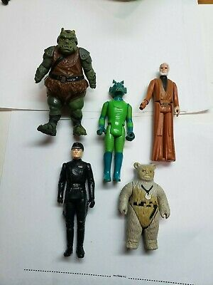 Beater Lot Vintage Star Wars Figures Obi Wan Chief Chirpa Greedo Imperial Comman