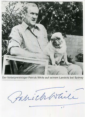 NOVELIST Patrick White NOBEL PRIZE IN LITERATURE 1973 autograph, signed print