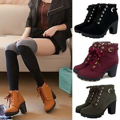 Women Ladies Chunky Ankle Boots High Block Heel Lace Up Buckle Zip Shoes Size