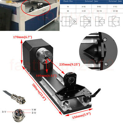 """Rotation Axis With 3"""" Chucks 3PH Stepper Motors for CNC Milling Engraver Router"""