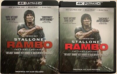 Rambo Extended Cut 4K Ultra Hd Blu Ray 2 Disc Set + Slipcover Sleeve Stallone