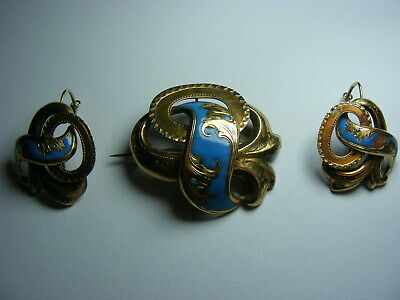 Rare Antique Victorian 56 14K Gold Turquoise Enameled Brooch And Earrings