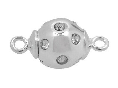 Sterling Silver Magnetic Clasp 8mm Ball w/ Cubic Zirconia Setting