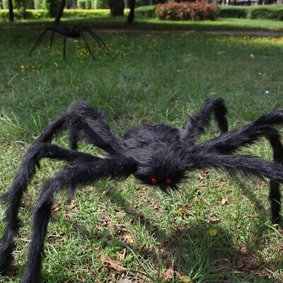 200cm Black Giant Hairy Plush Spider Halloween Decor Haunted House Prop