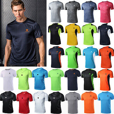 Mens Summer Gym Sports Running T Shirt Fitness Muscle Quick Dry Tops Tee M-4XL