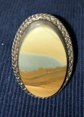 Antique Vintage Sterling Silver Ring With Picture Jasper