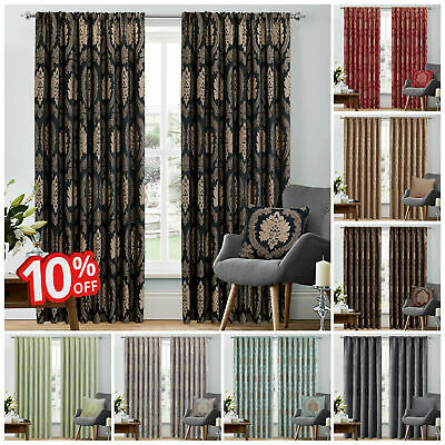 Luxury Heavy Jacquard Fully Lined Ready Made Pencil Pleat Curtains With Cushions