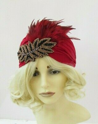 Burgundy Wine Red Black Gold Feather Turban Fascinator 1920s Flapper Gatsby 7547