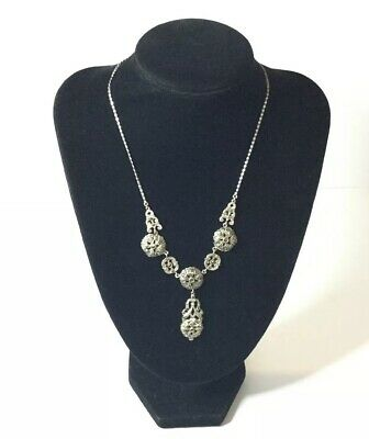 Vintage Solid Sterling Silver Art Deco Necklace with Marcasite Gemstones c1930's