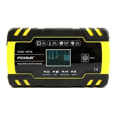 Foxsur 12V 8A 24V 4A Pulse Repair Charger with Lcd Display, Motorcycle & Ca P1G3