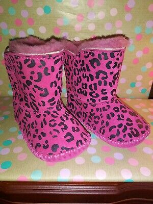 Authentic Baby Girls  Pink Black Animal Print UGG Boots - Size 2/3