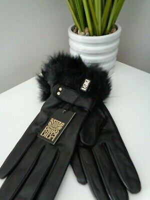 BNWT  Biba Black Fur Cuff Leather Gloves  size M/L