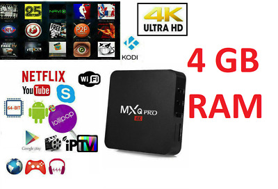 TV BOX ANDROID IPTV 6K 4GB RAM 32 Rom SMART DECODER FULL HD 1080P WIFI MXQ PRO