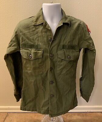 Vintage WWII US Military Shirt Clover Patch Green Men Size 14.5x33 Army Uniform