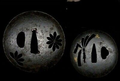 Antique Japanese pair of sukashi Tsuba 忠次 sign Edo period sword katana 2 set lot