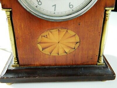 Beauftiful Antique Inlaid Mantlepiece Clock Marquetry Edwardian with later Temco