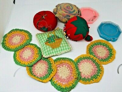 Vintage Pin Cushions Pincushions Needle Red Tomato Strawberry Knitted Doillies