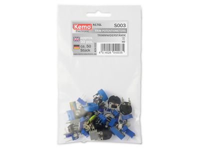 50pc Trimmer POT Selection Kemo S003 Assorted Mixed Values Trim Potentiometers