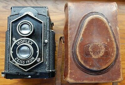 c1930s ZEISS IKON IKOFLEX ( COFFEE CAN ) TLR FILM CAMERA WITH LEATHER CASE