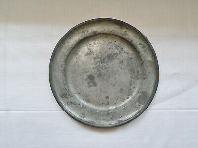 """Antique Edward Danforth Pewter 8"""" Plate Fully Signed With  Touch Marks"""