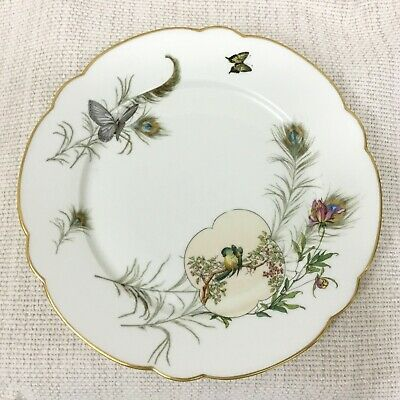 Antique Porcelain Plate Victorian Aesthetic Japanese Parrot Peacock Feathers