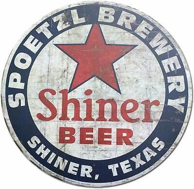 """Shiner Beer Shiner Texas Vintage Style Round Tin, Metal Sign Wall Plaque 12"""" Dia"""