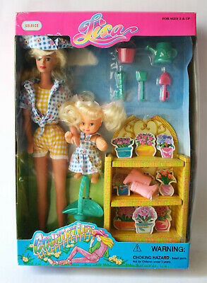 """Rare Vintage 90'S Lisa 11.5"""" Doll + Kid Country Life Goldeco New !"""
