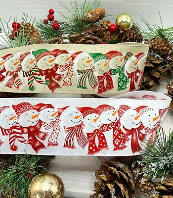 Wired Snowman Ribbon Christmas Cake Xmas Wreath Garland Bow Tree Red Glitter