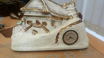 Very Unusual  Victorian Porcelain Christmas looking Mantle Clock