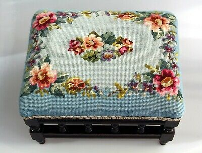 Vintage/Antique Floral Needlepoint Tapestry Square Wooden Footstool